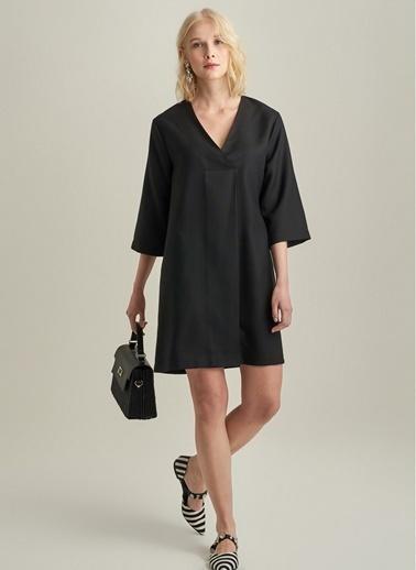 Ng Style V Yaka Elbise Siyah